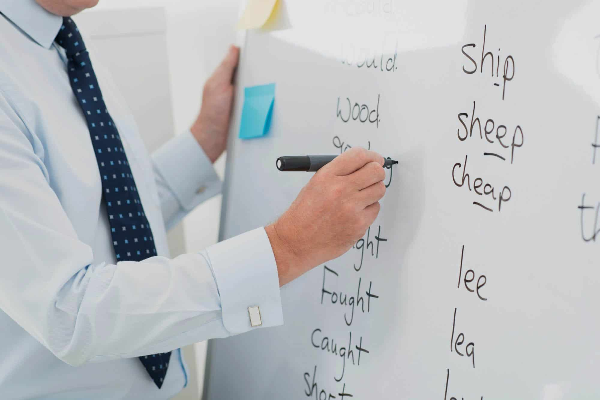 Close-up of a male teacher writing English words on the whiteboard